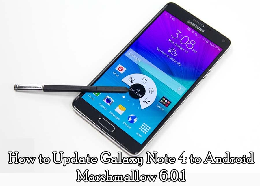 manually update samsung note 4 to marshmallow